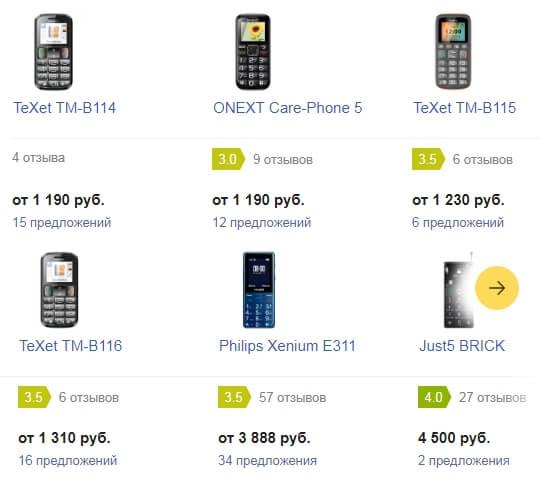 модели мобильников